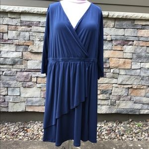 Navy  jersey dress, half sleeves, flare skirt NWT